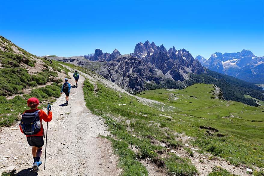 Last part of Tre Cime loop trail just before Rifugio Auronzo