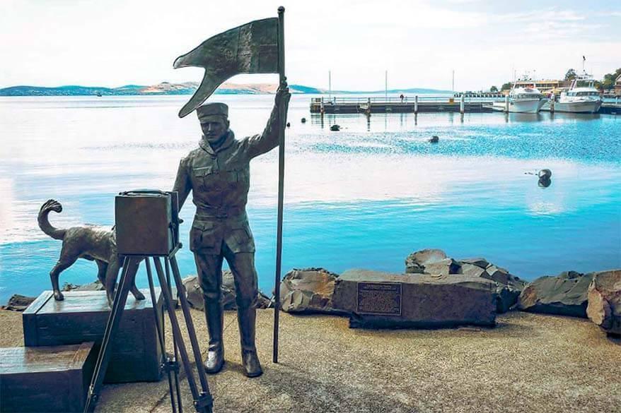 Louis Bernacchi Statue on Franklin Wharf in Hobart