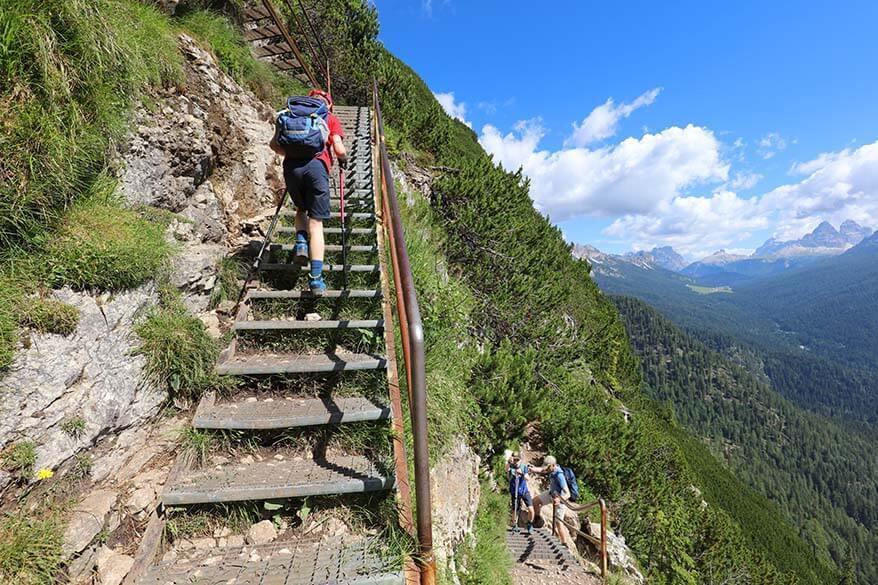 Metal staircases on Lago Sorapis hike