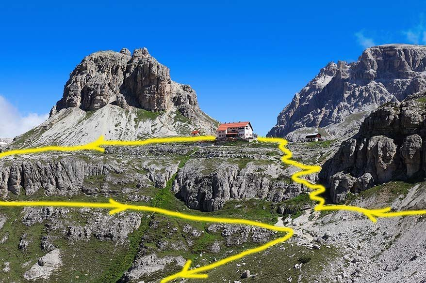 Rifugio Locatelli detour trail indicated on the picture