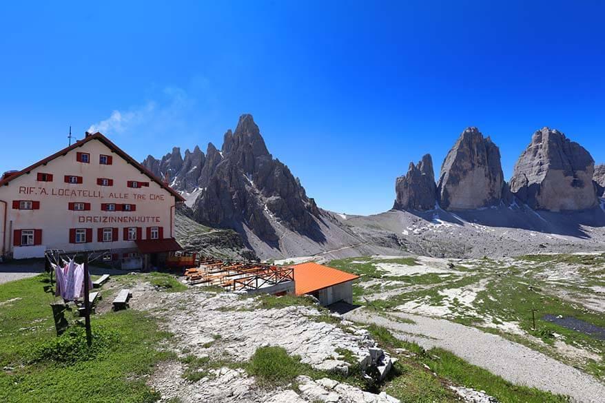 Rifugio Locatelli with Tre Cime peaks in the background