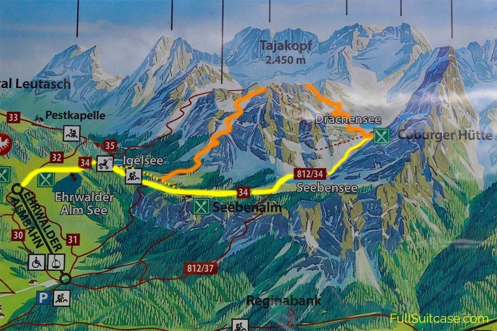 Seebensee and Coburger Hut hiking map