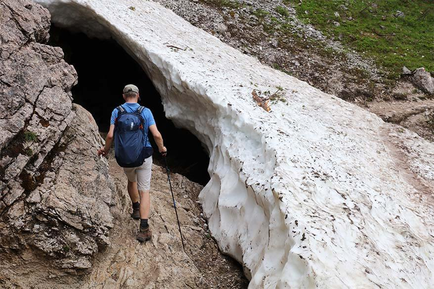 Snow tunnel on the Lake Sorapis hike in July