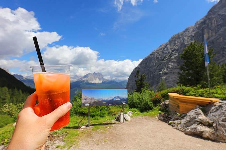 Summer drink at Rifugio Vandelli