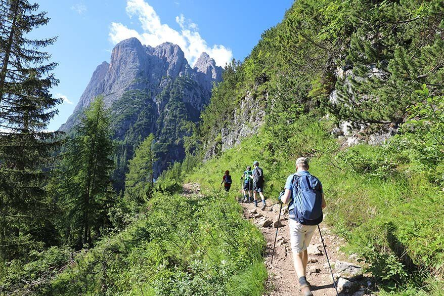The first part of Lake Sorapis hiking trail