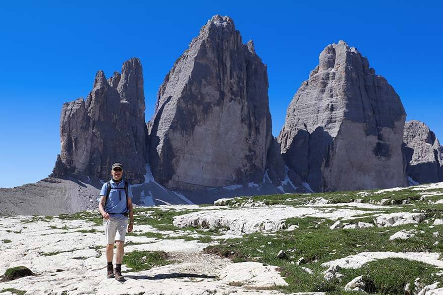 Tre Cime as seen from a hike to Rifugio Locatelli
