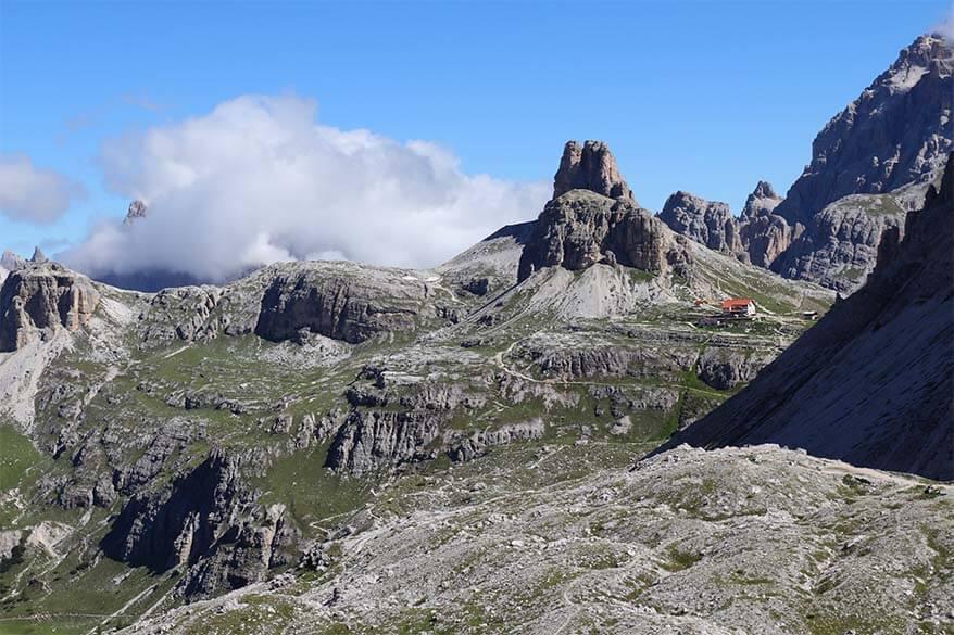 Tre Cime loop trail and scenery around Rifugio Locatelli