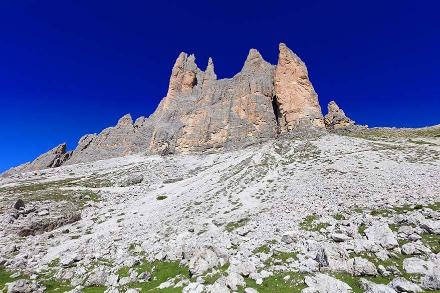 Tre Cime peaks as seen from the start of the hike