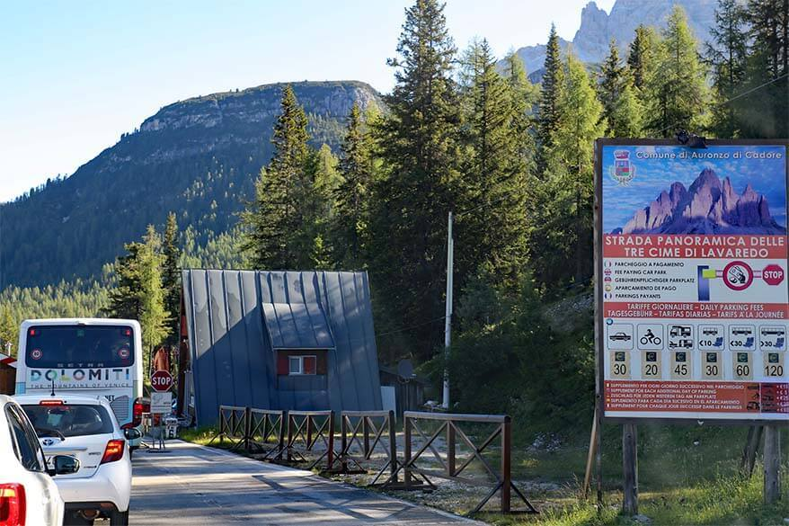 Tre Cime toll booth and rates
