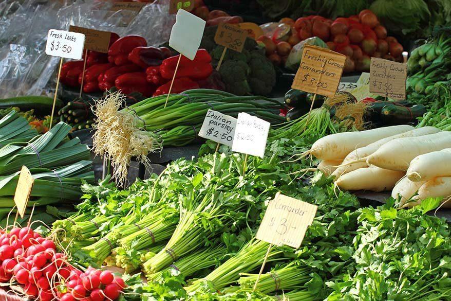 Vegetables for sale at a market in Hobart