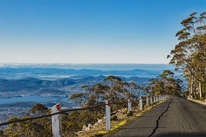 Views over Hobart from Kunanyi Mount Wellington scenic drive