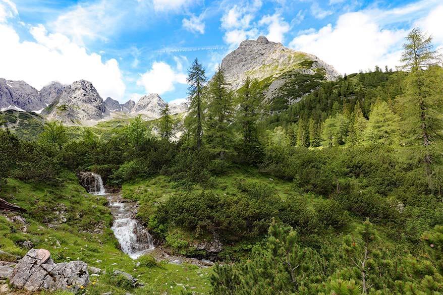 Waterfall along the Seebensee lake hiking trail