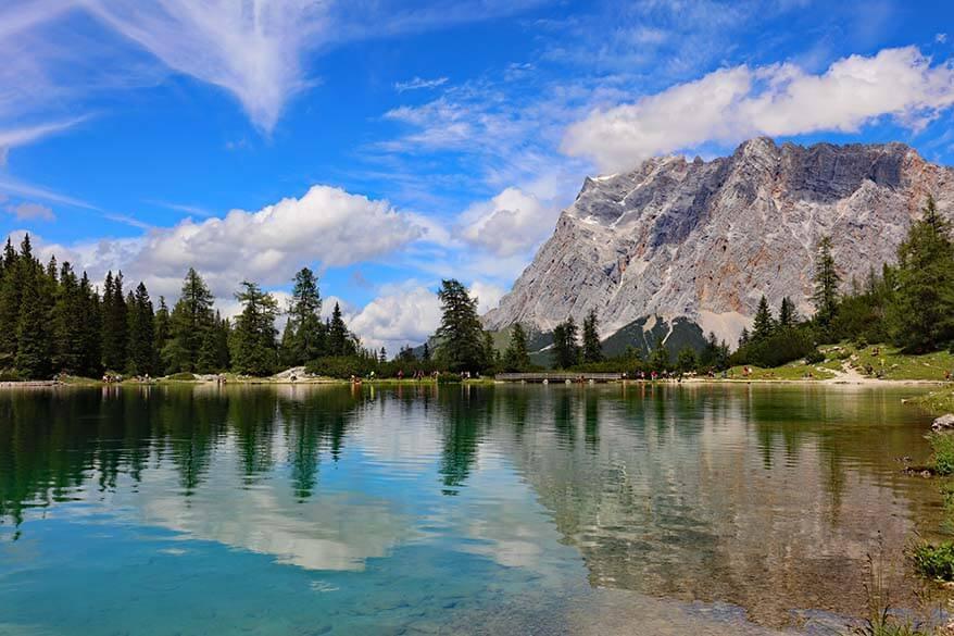 Zugspitze mountain reflections on Seebensee lake