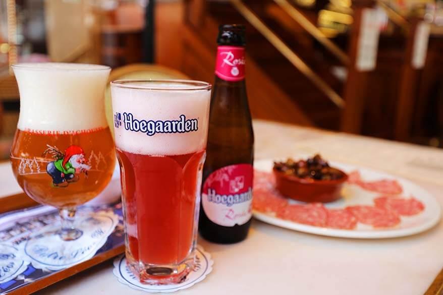 Belgian beer and snacks at Bistro Leo in Bastogne