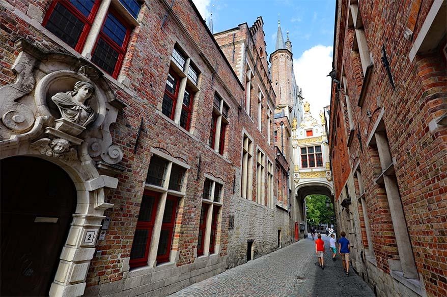 Blinde Ezelstraat in Bruges Belgium