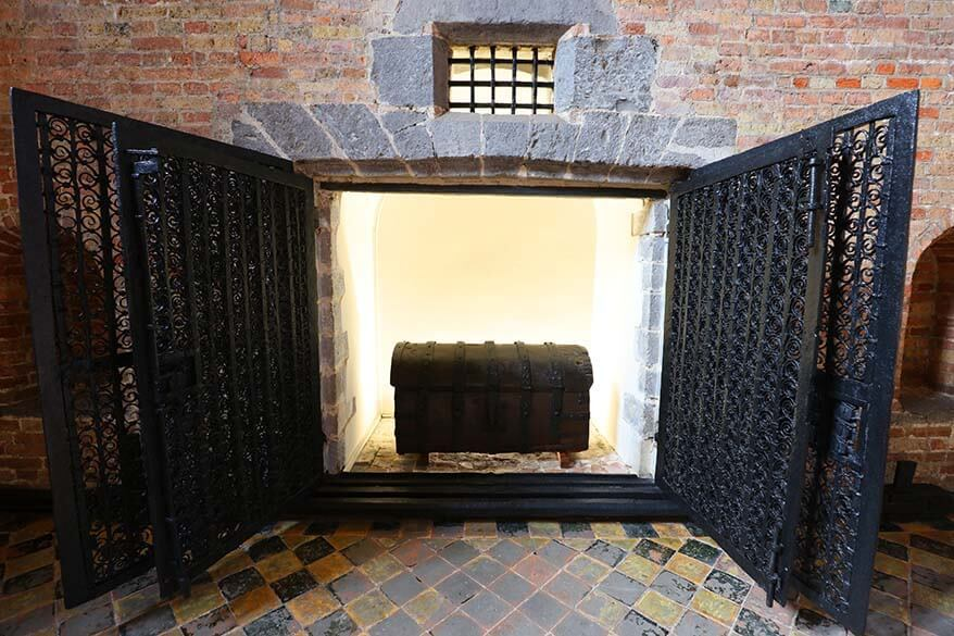 Bruges Belfry treasury room with wrought iron doors