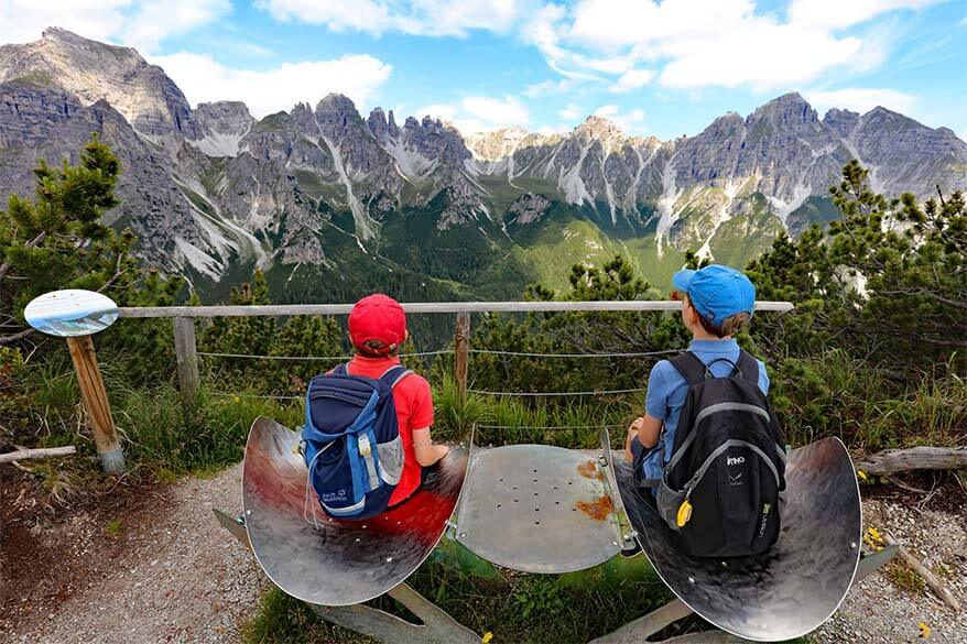 Chairs along the hike to Stubaiblick with a view of seven summits of Stubai