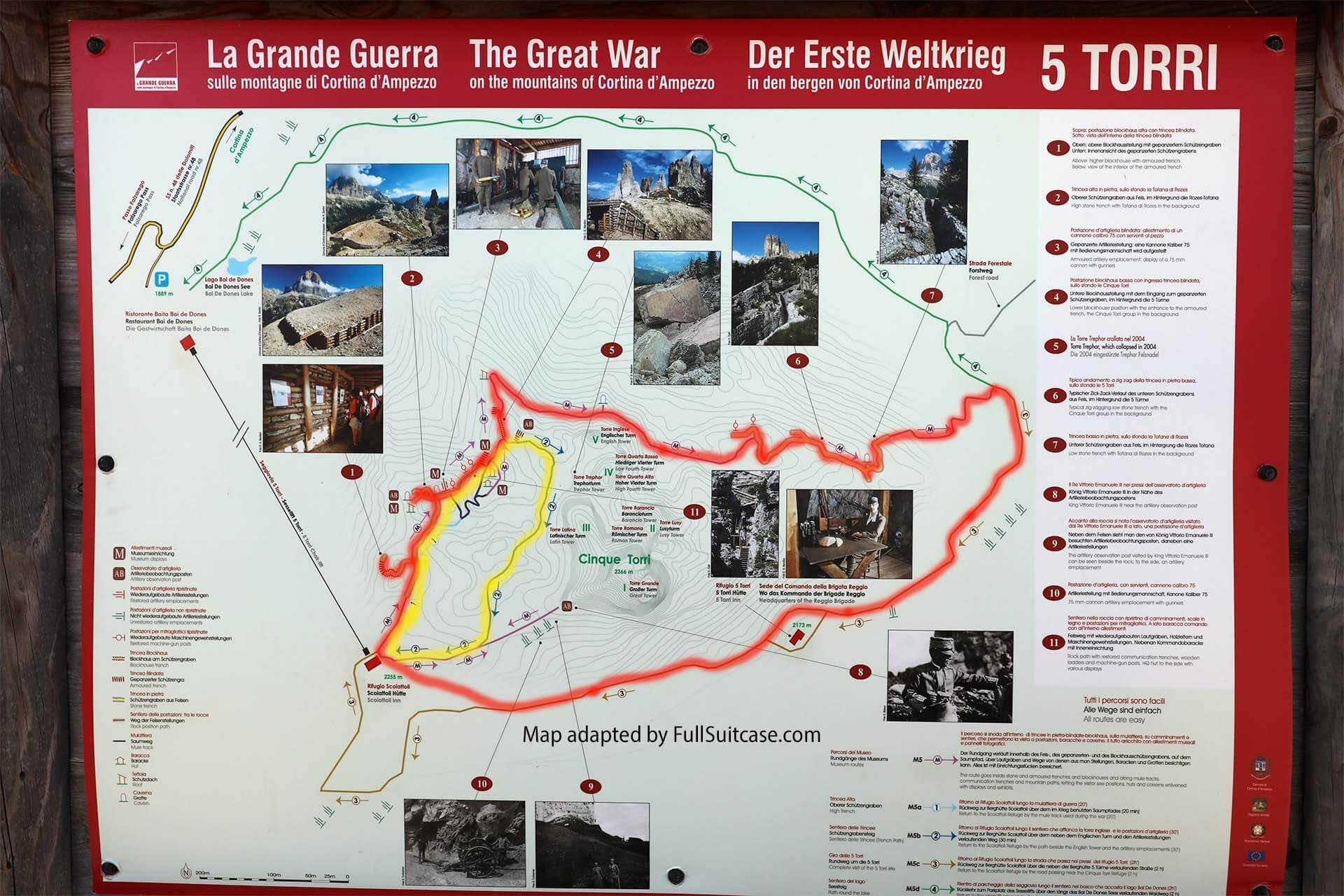 Cinque Torri hiking map