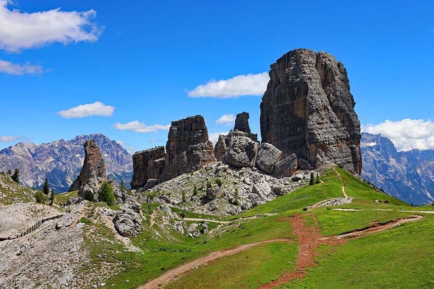 Cinque Torri in the Dolomite mountains in Italy