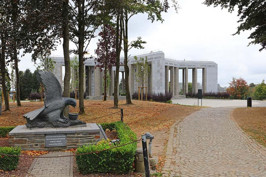 Eagle statue at the Mardasson Memorial near Bastogne War Museum in Belgium