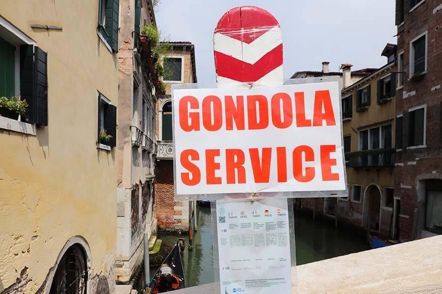 Gondola service rates in Venice