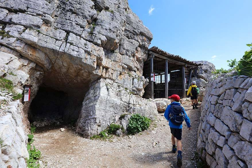 Great war hiking trail at Cinque Torri in Italy