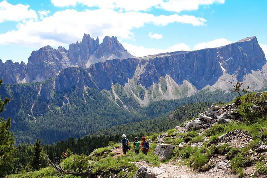 Hiking at Cinque Torri in the Italian Dolomites