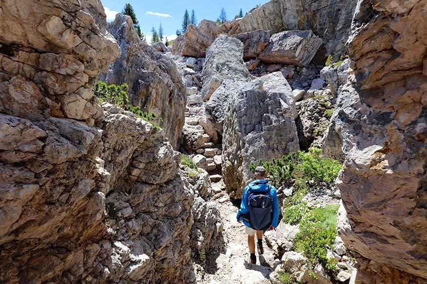 Hiking the 5 Torri circular trail in the Dolomites