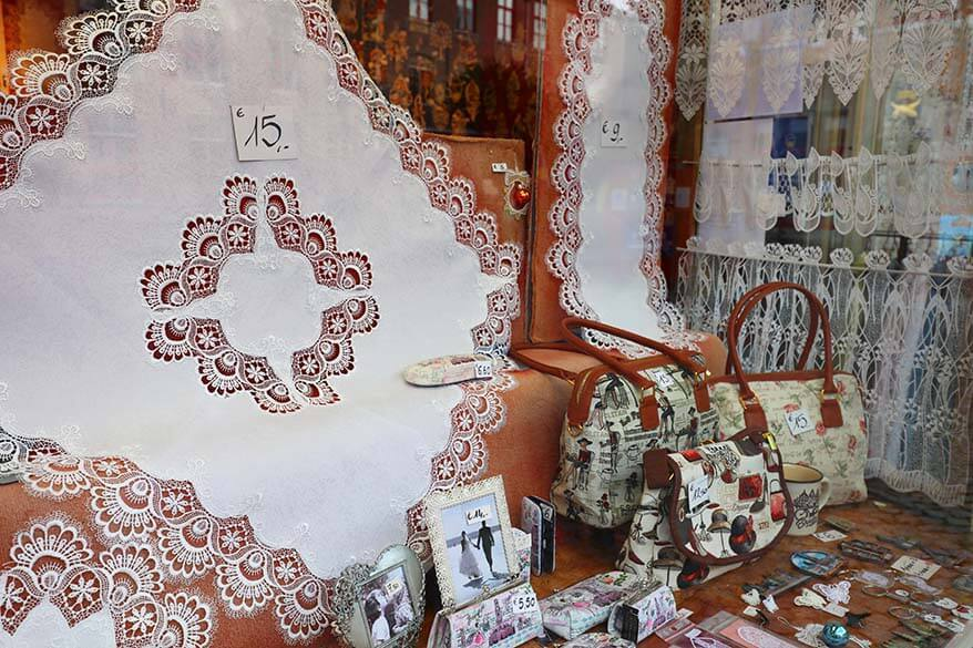 Lace for sale in Bruges Belgium