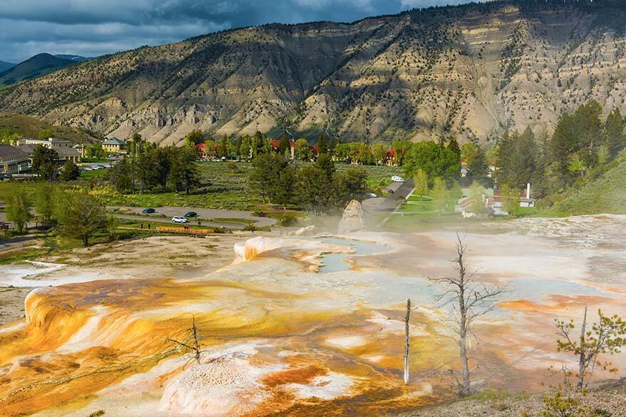 Mammoth Hot Springs Village and geothermal area in Yellowstone National Park
