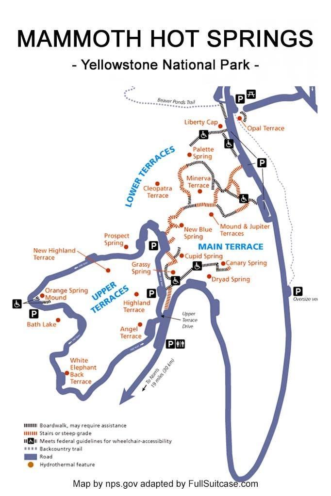 Mammoth Hot Springs map