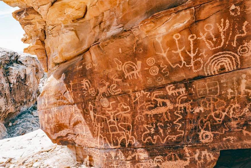 Newspaper Rock petroglyphs in Gold Butte National Monument in Nevada