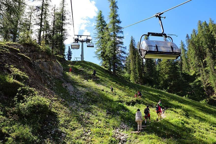 Steep hiking trail under the Cinque Torri cable car