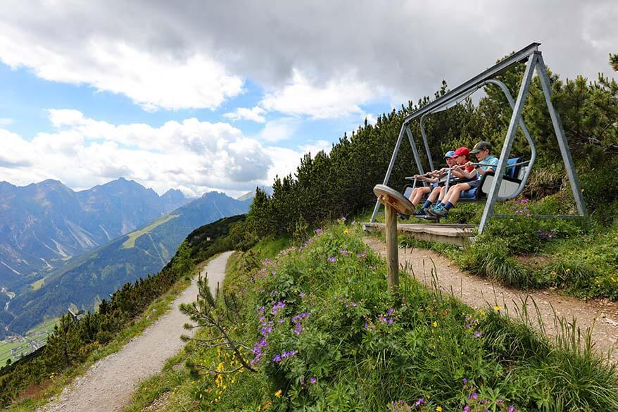 Unusual bench on the way to Stubaiblick viewing platform at Schlick 2000