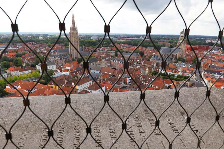 View from the Bruges Belfry tower via the fenced windows