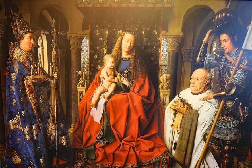 Virgin and Child with Canon Joris Van der Paele painting by Jan Van Eyck