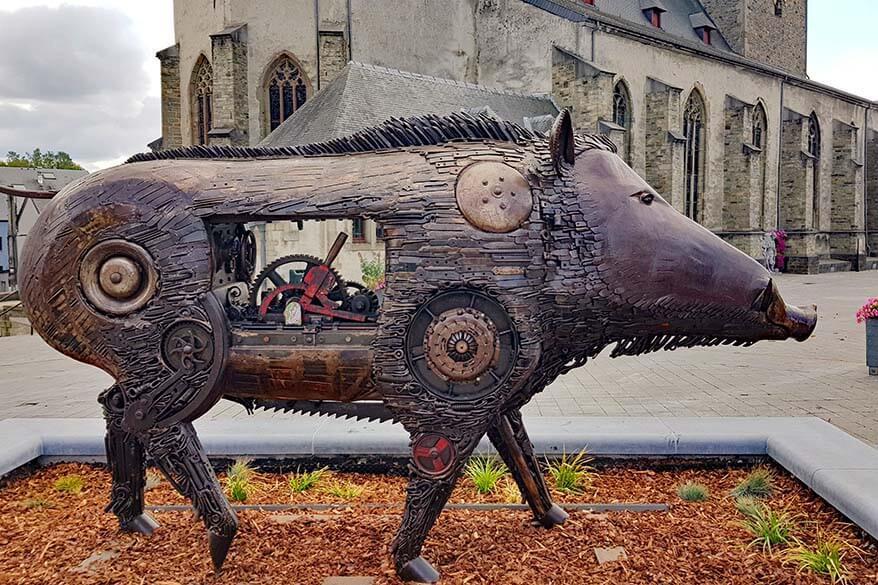 Wild boar statue in the center of Bastogne town in Belgium
