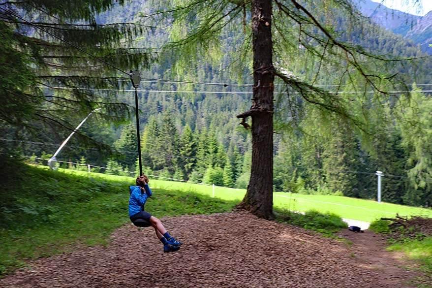 Zip-lining at Stubai Tree House Trail Schlick 2000