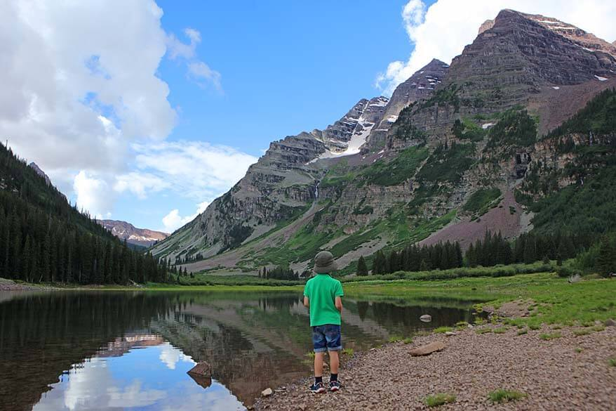 Crater Lake near Maroon Bells in Colorado USA