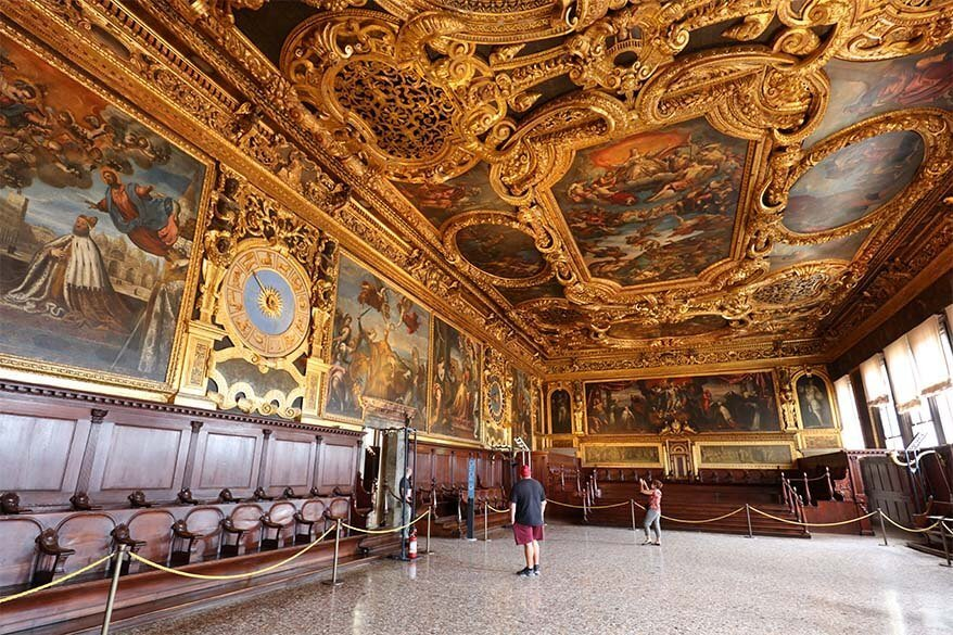 Senate Hall at Doge's Palace in Venice