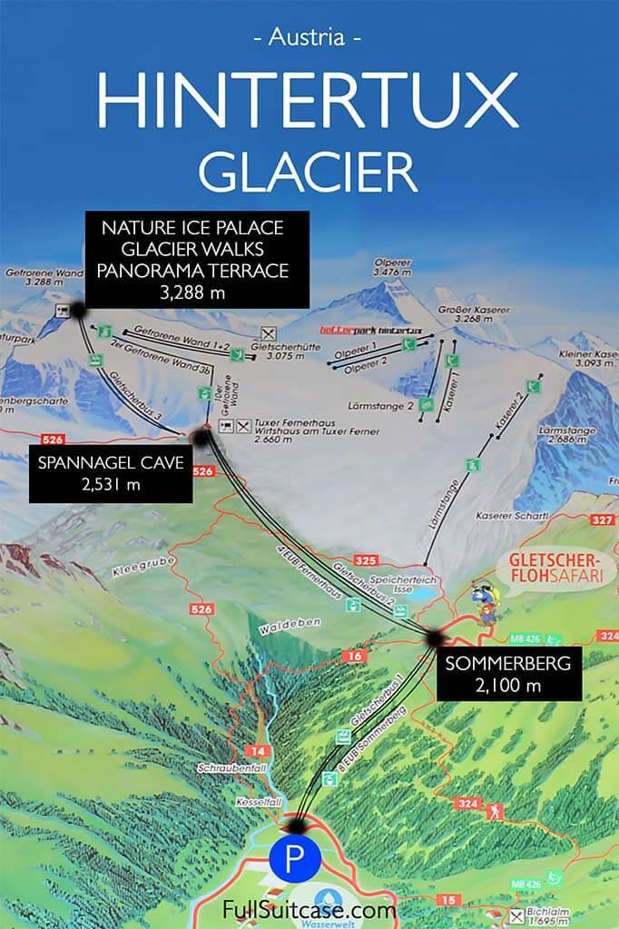 Hintertux Glacier summer map