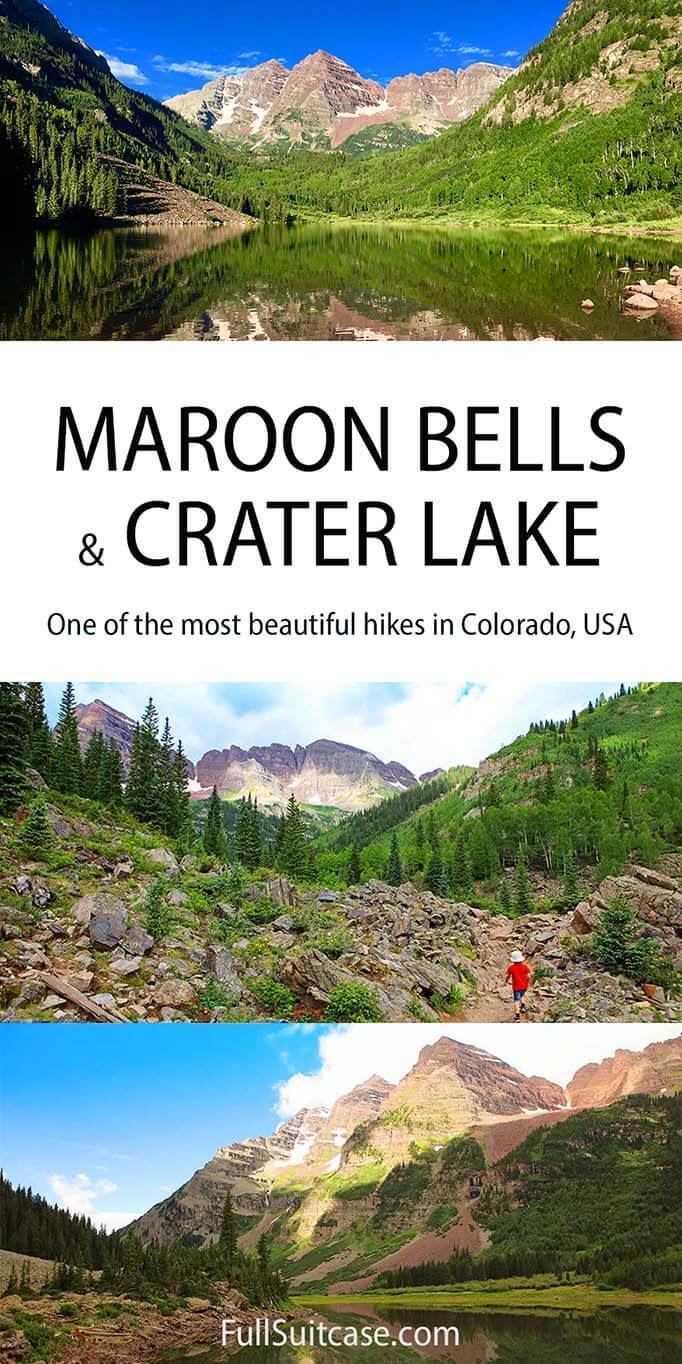 Maroon Bells and Crater Lake hike in Colorado USA