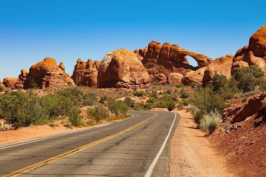 Skyline Arch along Arches Scenic Drive