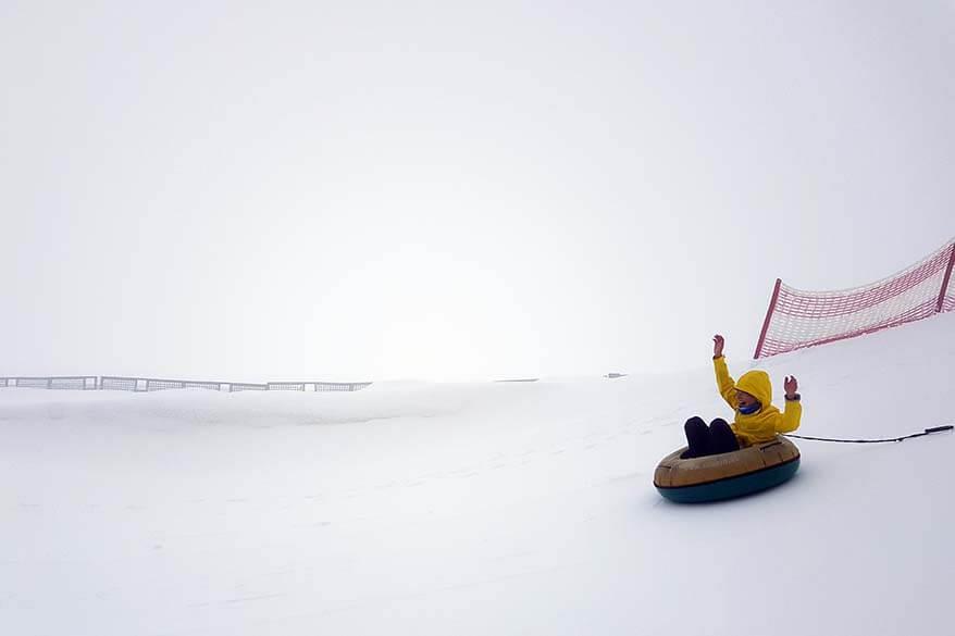 Snow tubing at Hintertux Glacier in summer