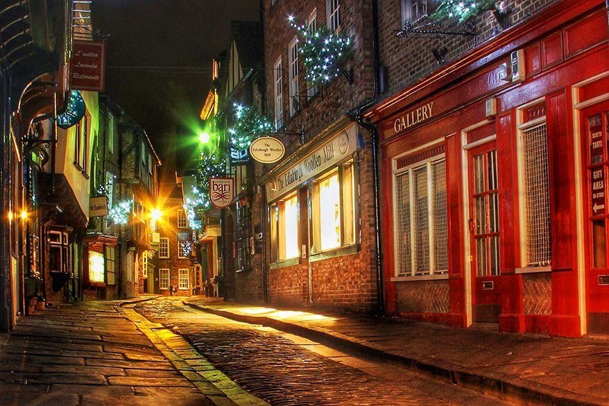 The Shambles Medieval Street in York at Christmas
