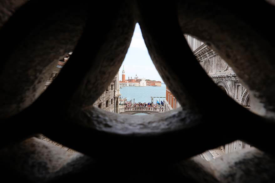 View from the inside of the Bridge of Sighs in Venice