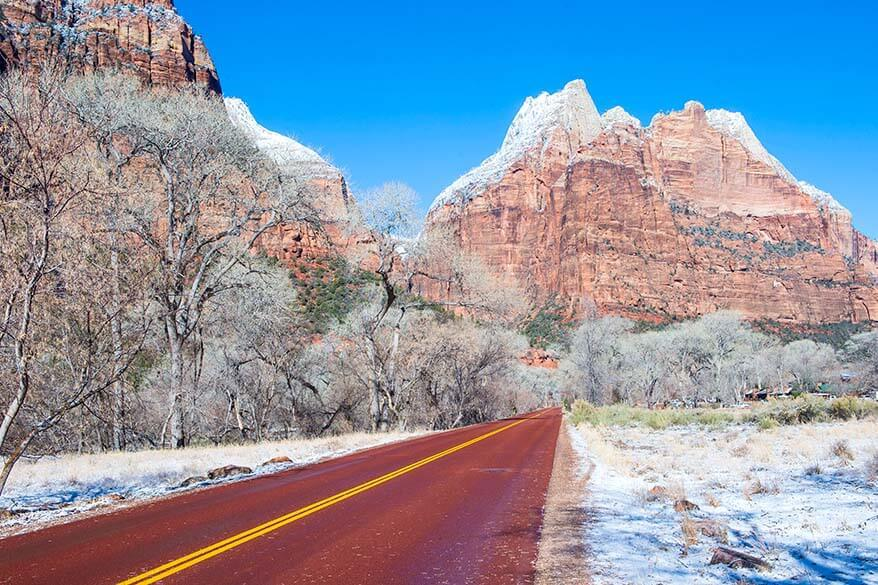 Zion National Park Scenic Drive in winter