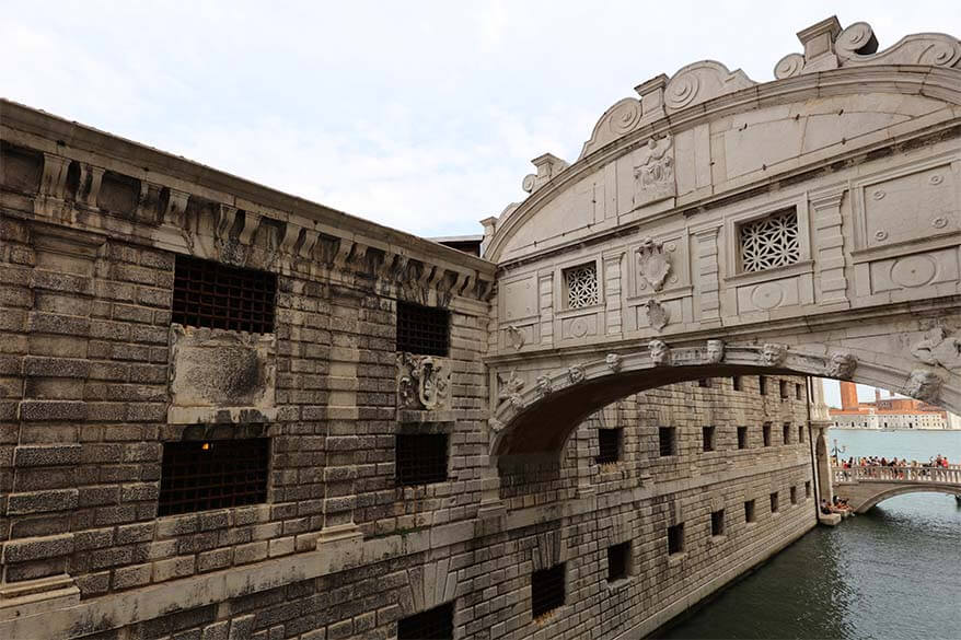 Bridge of Sighs and New Prisons at Doges Palace in Venice