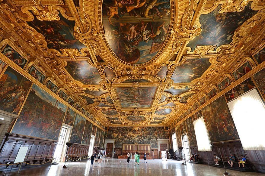 Chamber of the Great Council (Sala del Maggior Consiglio) Doges Palace Venice