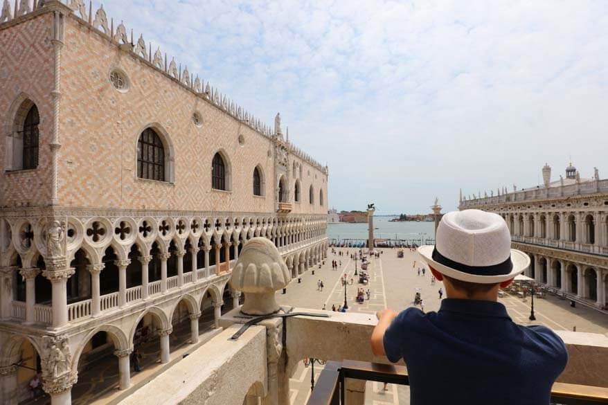 Doges Palace as seen from the balcony of St Marks Basilica in Venice